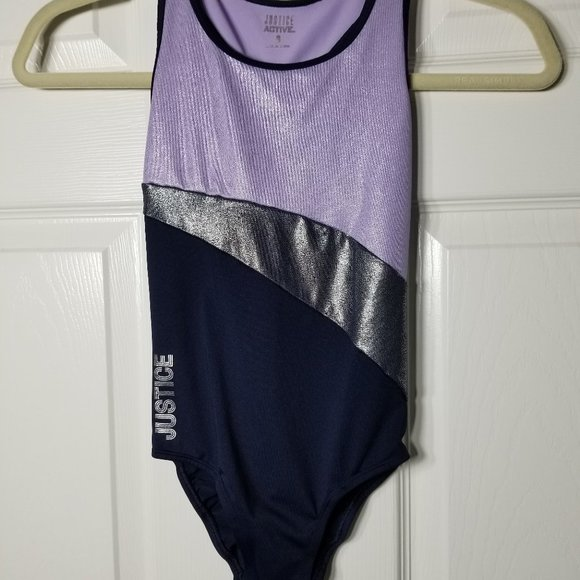 Justice one-piece swimsuit with purple shimmer